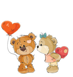 Brown teddy bear holding in its paw a red vector