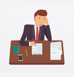 Businessman busy with documents vector