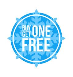 Buy one get one free sign circular winter sale vector