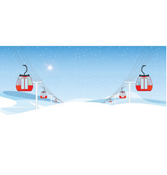 cable cars or aerial lift with people moving vector image
