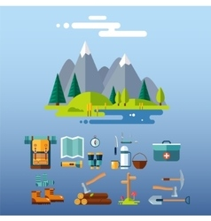 Camping Equipment Icons Flat Design vector