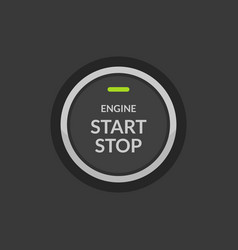 car engine start stop button ignition push circle vector image
