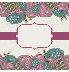 card with frame and muffins vector image