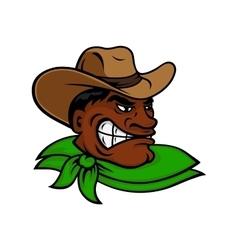 Cartoon black rodeo cowboy or rancher character vector