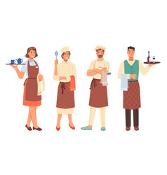 chef cook and waiter profession man and woman vector image