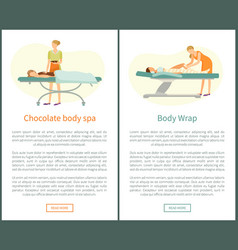 Chocolate body spa and legs wrap in spa salon web vector