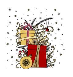 Christmas greeting card pile holiday presents vector