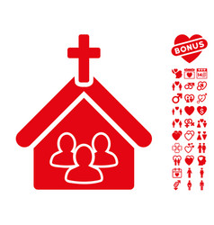 Church icon with dating bonus vector