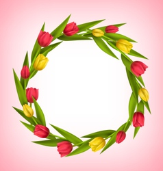 Circle frame with tulips red and yellow flowers on vector image