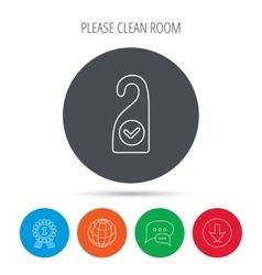 Clean room icon Hotel door hanger sign vector image