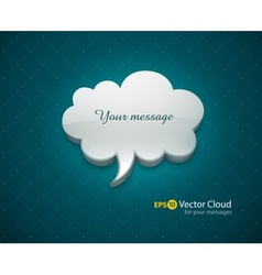 Cloud bubble icon for message vector image