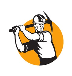 Coal Miner Working Pick Ax Retro vector