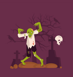 concept of zombie man on cemetery background vector image