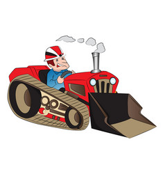 construction worker driving a loader vector image