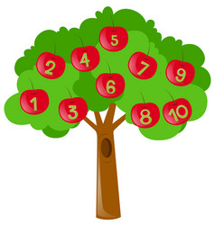 counting numbers with red apples on tree vector image