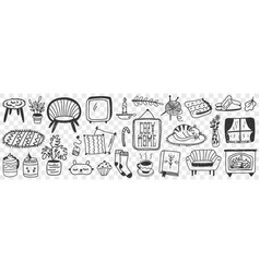 Cozy home accessories doodle set vector