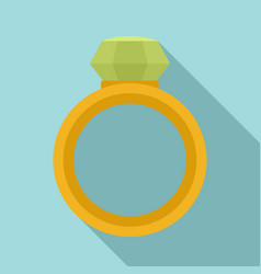crystal gemstone ring icon flat style vector image