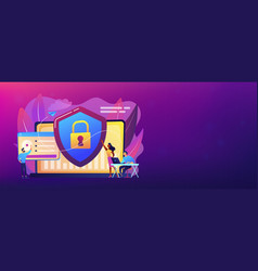 cyber security concept banner header vector image