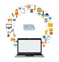 digital marketing laptop technology network online vector image