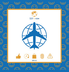 earth and airplane logo vector image