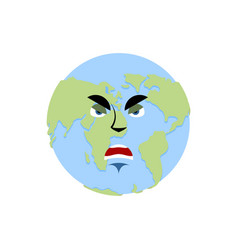earth angry emoji planet aggressive emotion vector image