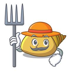 Farmer mollusk shell character cartoon vector