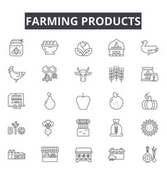 farming products line icons for web and mobile vector image