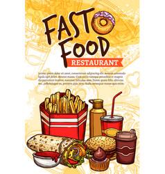 Fast food sketch poster for restaurant vector