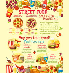Fast food street food snacks poster vector