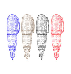 Fountain pen colored hand drawn sketch vector