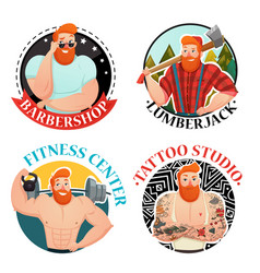 Four labels with brutal men icons vector