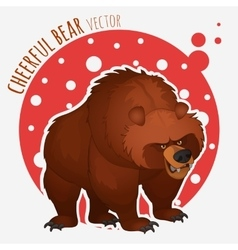 funny angry bear on a red-white background vector image