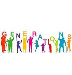 Generations concept with people from different vector