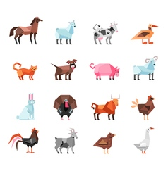 Geometric Farm Animals Set vector