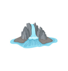 gray rocky mountain on island surrounded by water vector image