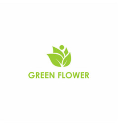 green flower symbol design vector image
