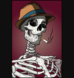 halloween spooky skull with hipster hat vector image