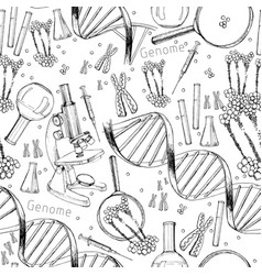 Hand drawn seamless pattern of structure of dna vector