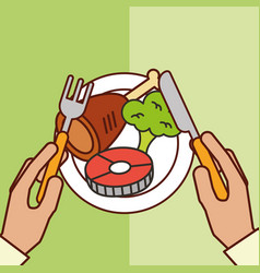 Hands holds fork knife fish chicken broccoli vector
