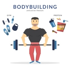 Happy bodybuilder vector image