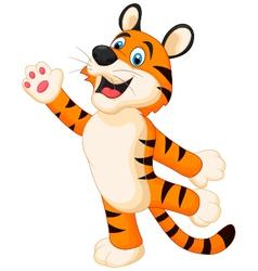 Happy cartoon tiger posing vector