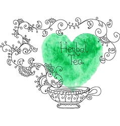 Herbal tea with watercolor green heart vector image