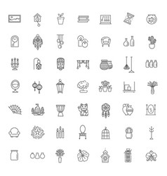 home decoration thin line icons vector image