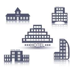 Hotel buildings flat design set vector image