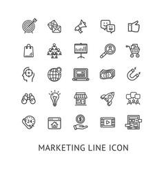 inbound marketing black thin line icon set vector image