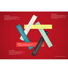 Infographic with six ribbons red vector