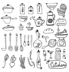 Kitchen set in Stylish design elements of kitchen vector image