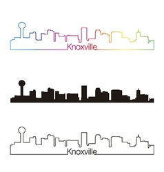 Knoxville skyline linear style with rainbow vector