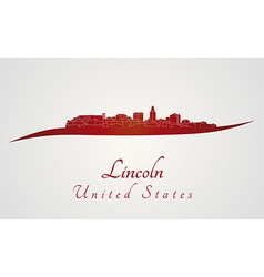 Lincoln skyline in red vector