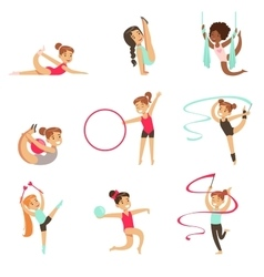 Little Girls Doing Gymnastics And Acrobatics vector